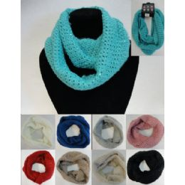 48 Units of Loose Knit W/ Sequins Knitted Infinity Scarf - Womens Fashion Scarves