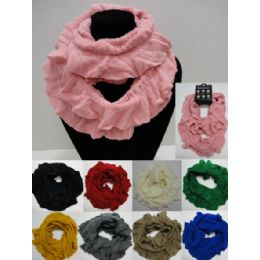 48 Units of Ruffled Knitted Infinity Scarf - Womens Fashion Scarves