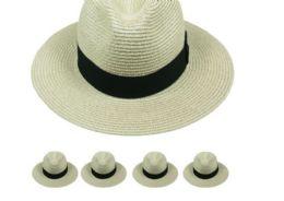 24 Units of High Quality Beige Color Fedora Hat with Black Strip - Fedoras, Driver Caps & Visor