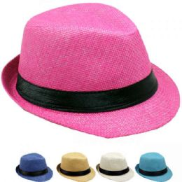 24 Units of Kid's Assorted Colors Fedora Hat With Black Band - Fedoras, Driver Caps & Visor