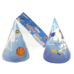 """72 Units of Hats Party 8pc 6.3""""sport - Party Favors"""