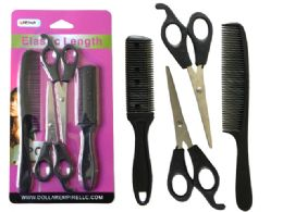 144 Units of 4 Piece Cut Styling Set With Scissors Sheers And Comb - Hair Products