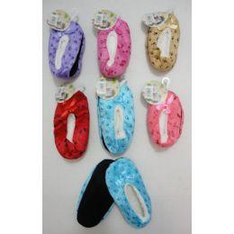 24 Units of Child's FleecE-Lined Footies [footprints] - Womens Slipper Sock