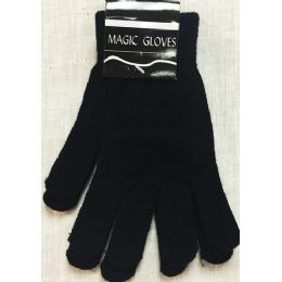 12 Units of Unisex Black Magic Gloves Winter Gloves - Knitted Stretch Gloves