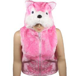 12 Units of Kids Cute Pink Animal Fox Jacket With Animal Hat - Kids Vest