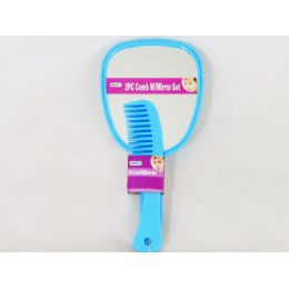 60 Units of Comb 2pc W/mirror Set 2 Asst Color Blue & Pink - Brushes