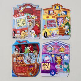 96 of Board Books Fan Tab U Lus 4 Asstd Kitties,dogs,pirate Animal School Bus In Pdq