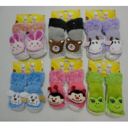 24 Units of Toddler Fuzzy Footies With Characters [noN-Slip] - Toddler Footwear