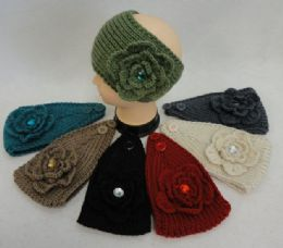 48 Units of Wide HanD-Knitted Ear Band [flower W/ Gem] - Ear Warmers