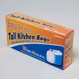 120 Units of Trash Bags 15 Ct - 13 Gal Tall Kitchen - White - Garbage & Storage Bags
