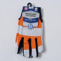 48 Bulk Gloves Stretch Leather Large Spandex Back Grey/orange