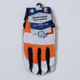 48 Bulk Gloves Stretch Leather Medium Spandex Back Grey/orange
