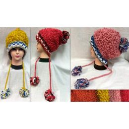 36 Bulk Thread Loops Knitted Winter Hats With Pompom Balls