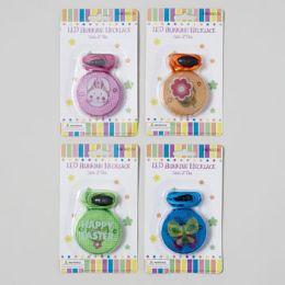 96 of Necklace Blinking Easter/spring Led Light 5ast/12pc Merchstrip Easter Blister Card
