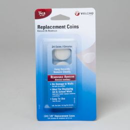 108 Units of Velcro Removable Adhesive 24 Coins Carded - Hardware Products