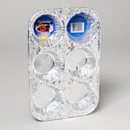 12 Units of Aluminum Muffin Pan 6 Cavity 2 Pack - Aluminum Pans
