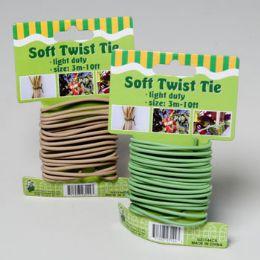 96 Units of Soft Twist Tie 10ft 3mm Green Or Tan On 12pc Merchstrip Gov Garden Tie On Card - Garden Tools