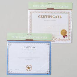 144 Bulk Award Certificates 10pk 11x8.5in 2asst Styles Gov Polybag/header