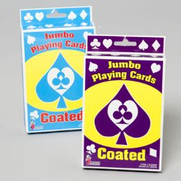 96 Units of Playing Cards Jumbo 5x3.5in Coated Boxed Set 2asst Gov Logo - Card Games