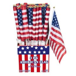 144 Units of 3 Pack American Flag - 4th Of July