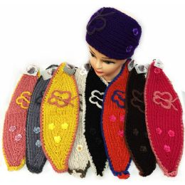12 Units of Knitted Butterfly Headband With Small Flowers Ear Bands - Ear Warmers