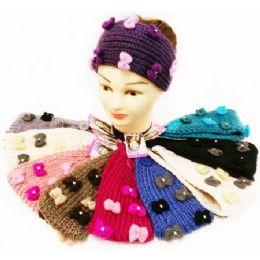 12 Units of Rhinestone Cute Bows Knitted Ear Band Headbands - Headbands