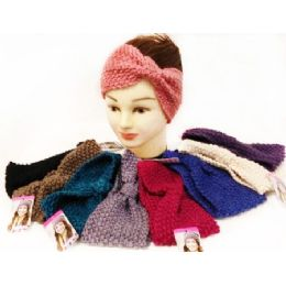 12 Units of Solid Color Knitted Ear Band Headband Bow Design - Headbands