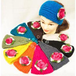 12 Units of Knit Flower Headband Green Leaf With Pink Flower - Headbands