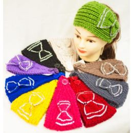 12 Units of Knit Flower Headband Simple Design Rhinestone Bowtie - Headbands