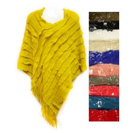 12 of Knit Poncho Shawl Assorted Ruffle Lined Pattern