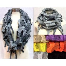12 Units of Knitted BI-Color Braid Effects Infinity Circle Scarves - Womens Fashion Scarves