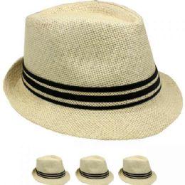 24 Units of Tan Color Fedora Hat With Black Band - Fedoras, Driver Caps & Visor