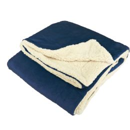 12 Units of UltrA-Plush Reversible Throw Blanket Navy - Blankets & Bedding