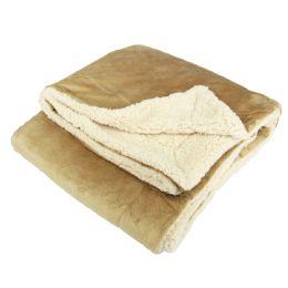 12 Units of UltrA-Plush Reversible Throw Blanket Camel - Blankets & Bedding