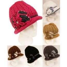 24 Bulk Winter Knitted Women Hat With Rhinestone Bowtie
