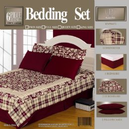 6 Units of 6pc 100% Cotton Burgundy Comforter Set - Blankets & Bedding