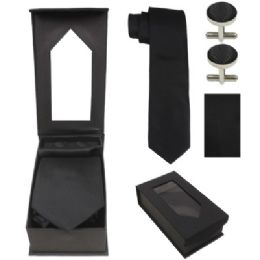 36 Units of Tie And CufF-Link Set In Black - Neckties