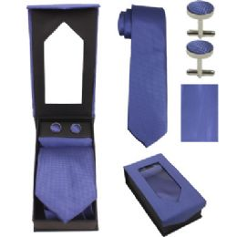 36 Units of Tie And CufF-Link Set In Blue - Neckties