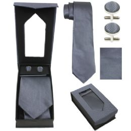 36 Units of Tie And CufF-Link Set In Grey - Neckties