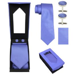 36 Units of Tie And CufF-Link Set In Light Blue - Neckties
