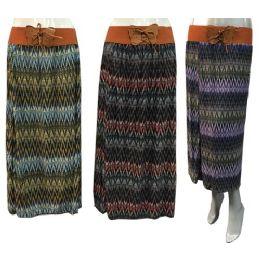 12 Units of Long Multicolor Tie Waist Chevron Skirts - Womens Skirts