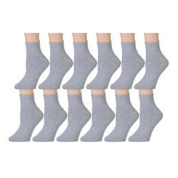 60 Bulk Yacht & Smith Men's Cotton Sport Ankle Socks Size 10-13 Solid Gray