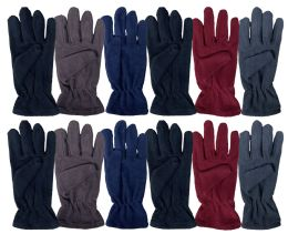 24 of Yacht & Smith Mens Double Layer Fleece Gloves Packed Assorted Colors