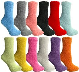24 Units of Yacht & Smith Women's Solid Colored Fuzzy Socks Assorted Colors, Size 9-11 - Womens Fuzzy Socks