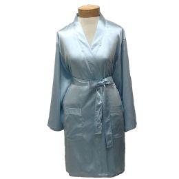10 Units of Womens Satin Kimono Robe - Sky Blue - Womens Intimates