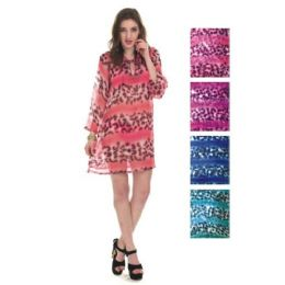 24 Units of Womens Chiffon Coverup Leopard Style - Women's Cover Ups