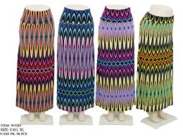 96 Units of Women's Long Colorful Patterned Skirt In Assorted Colors - Womens Skirts