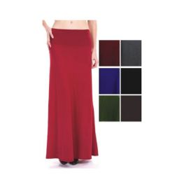 96 Units of Womens Long Solid Color Skirts In Assorted Colors - Womens Skirts