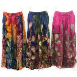 12 Units of Adjustable Waist Tie Peacock Print Skirt - Womens Skirts