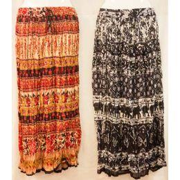 12 Units of Maxi Skirt Ethnic Print Adjustable Waist Tie Assorted - Womens Skirts